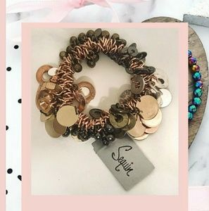 Sequin cluster beads and sequins stretch bracelet